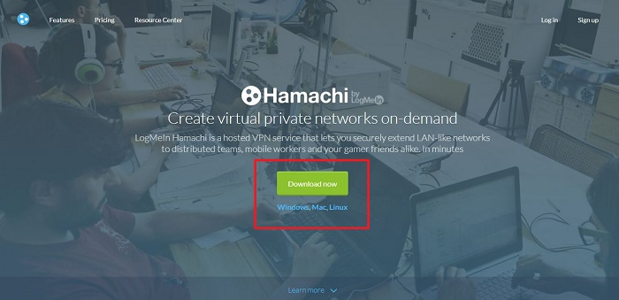 Click to download hamachi
