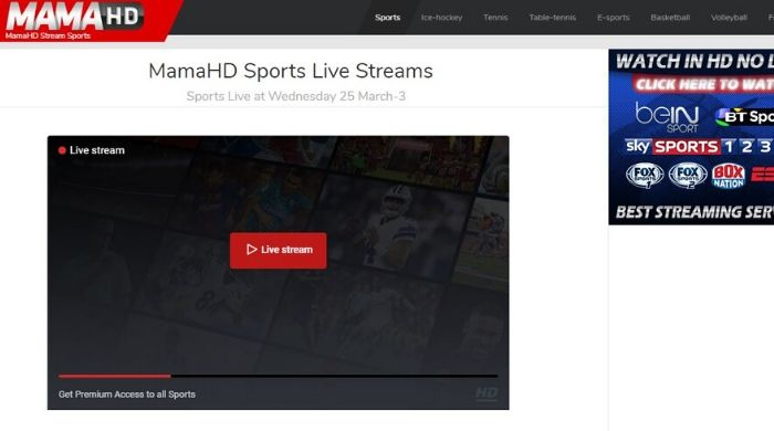 Mamahd - Sports Streaming online site