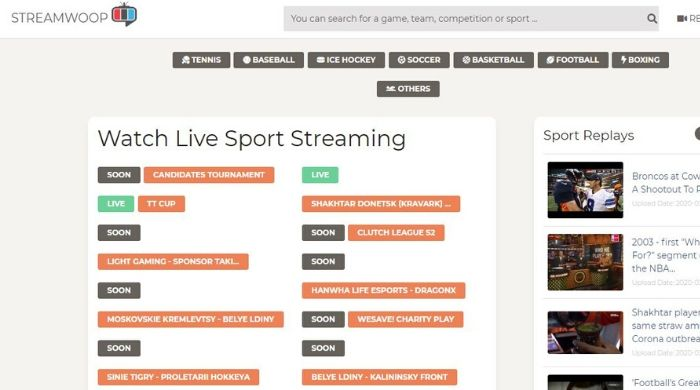 Streamwoop - Free Sports Streaming Site