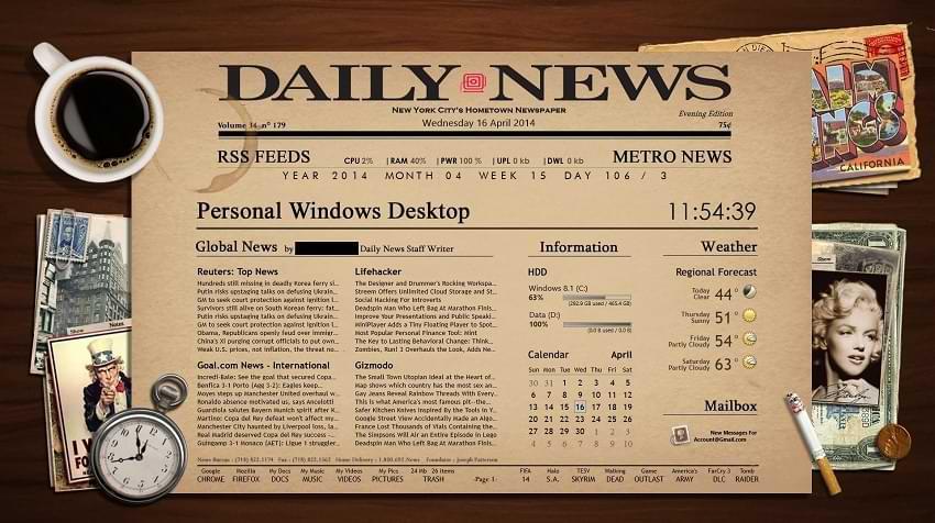 Newspaper Desktop Rainmeter Skin